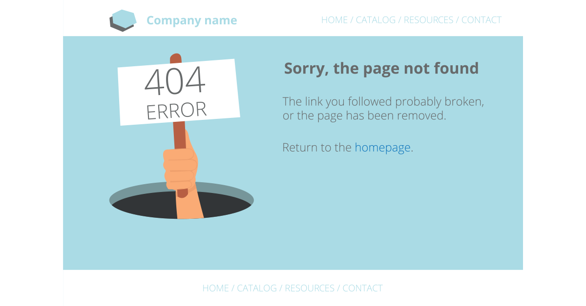 An example of a 404 error page - SEO site audit