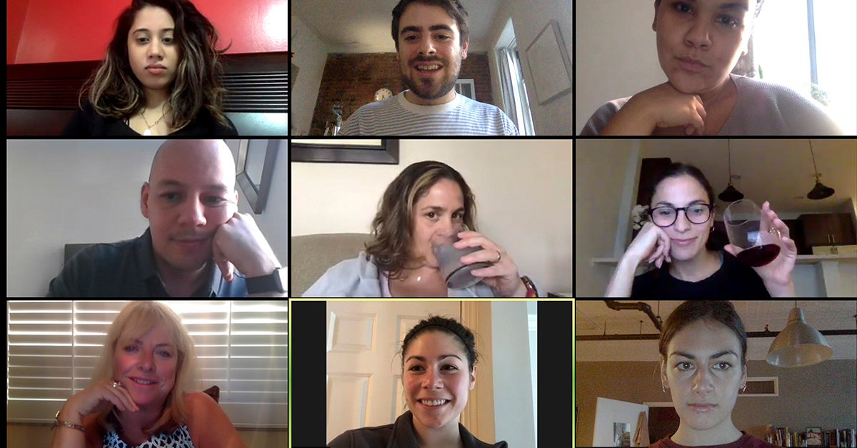 A group of colleagues having a Zoom team meeting